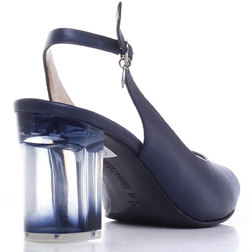 Синие туфли Marino Fabiani на прозрачном каблуке, фото