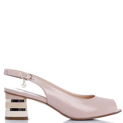 Туфли Marino Fabiani с золотистым декором на каблуке, фото