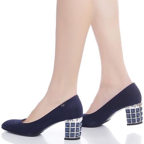Синие туфли Marino Fabiani с камнями на каблуке, фото