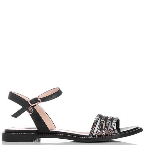Черные сандалии Marino Fabiani с декором-стразами, фото