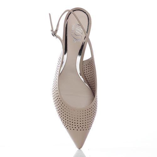 Бежевые туфли-слингбеки Loriblu с перфорацией, фото