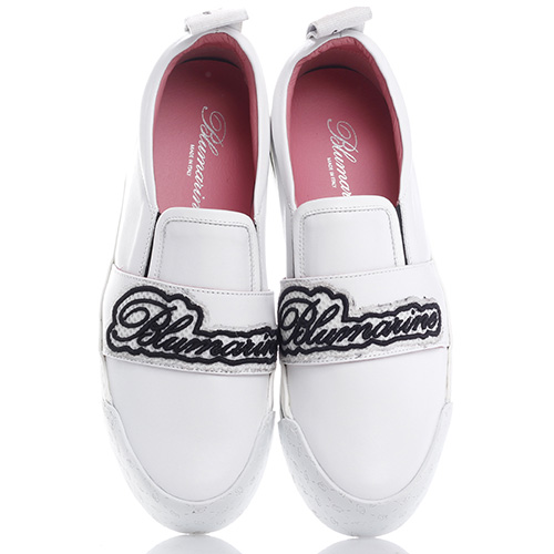 Белые слипоны Blumarine с брендовой вышивкой, фото