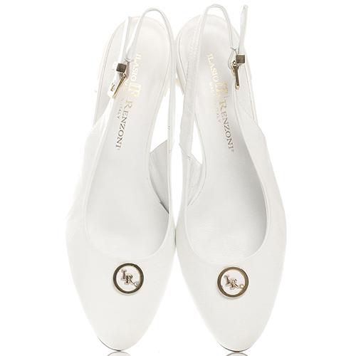 Белые туфли Ilasio Renzoni с декором-бусинами на каблуке, фото