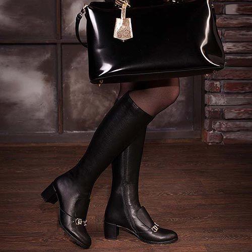 Демисезонные сапоги Modus Vivendi из кожи черного цвета на среднем каблуке, фото