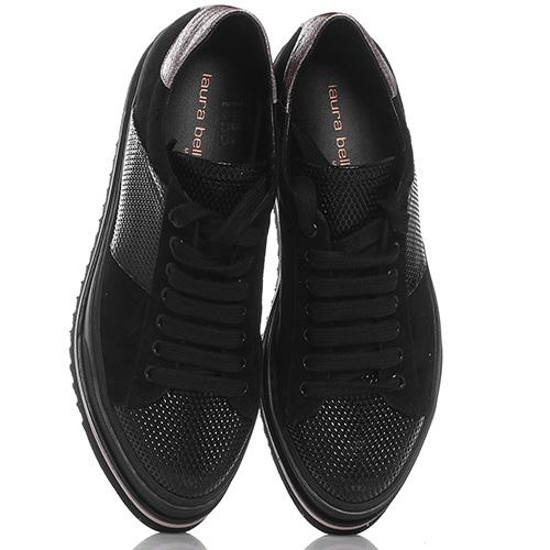 Черные кроссовки Laura Bellariva из замши с лаковыми вставками, фото