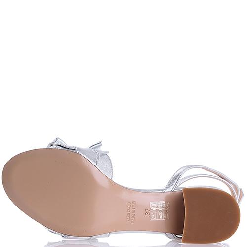 Серебристые босоножки Bianca Di на среднем каблуке, фото
