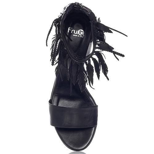 Черные босоножки Fru.It с высоким задником на молнии, фото