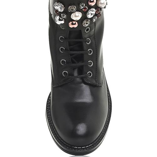 Черные ботинки Mally с декоративными камнями, фото