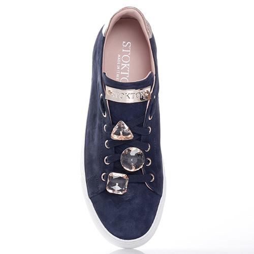 Темно-синие кеды Stokton со съемными стразами на шнуровке, фото