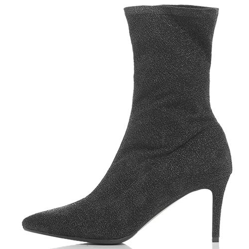 Черные ботильоны Chantal с блестками и острым носком, фото