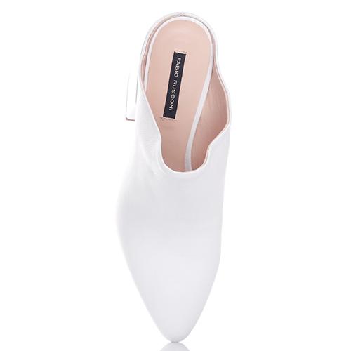Белые мюли Fabio Rusconi на толстом каблуке, фото