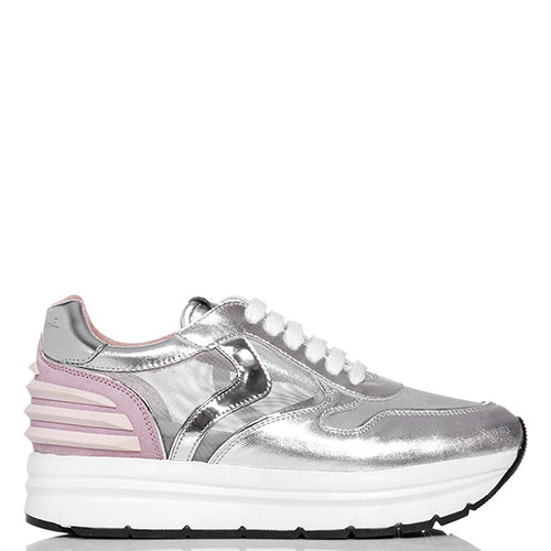 Серебристые кроссовки Voile Blanche на платформе, фото