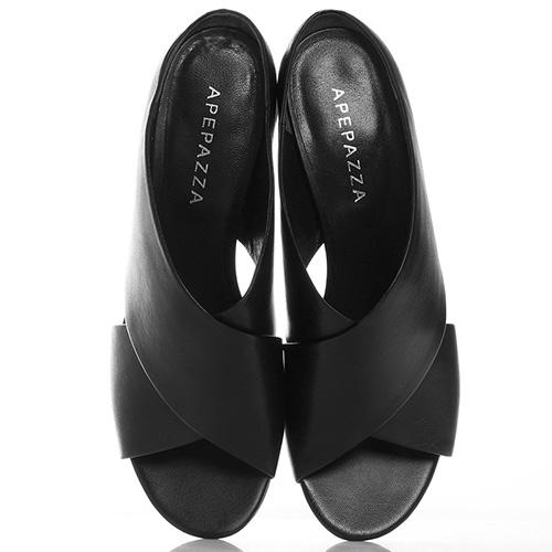 Черные мюли Apepazza на серебристом каблуке, фото