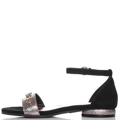 Замшевые сандалии Apepazza с декором-стразами, фото