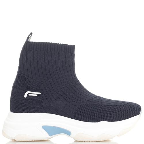 Высокие синие кроссовки Fornarina на толстой подошве, фото