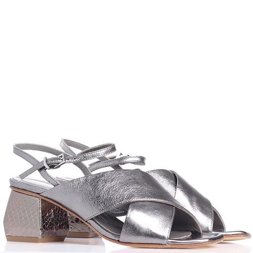 Серебристые босоножки Giancarlo Paoli на устойчивом каблуке, фото