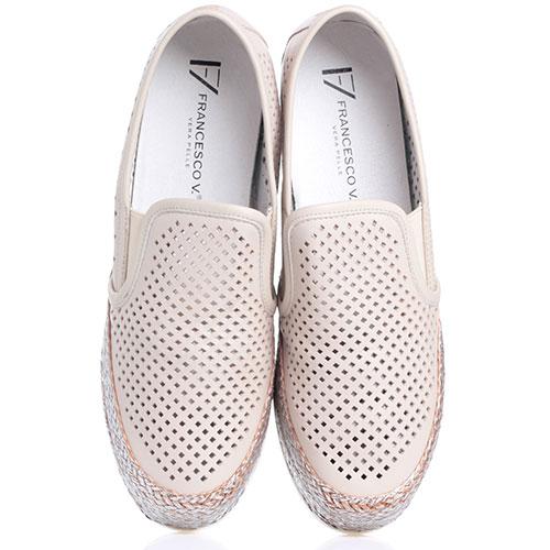Бежевые туфли Francesco Valeri на платформе, фото