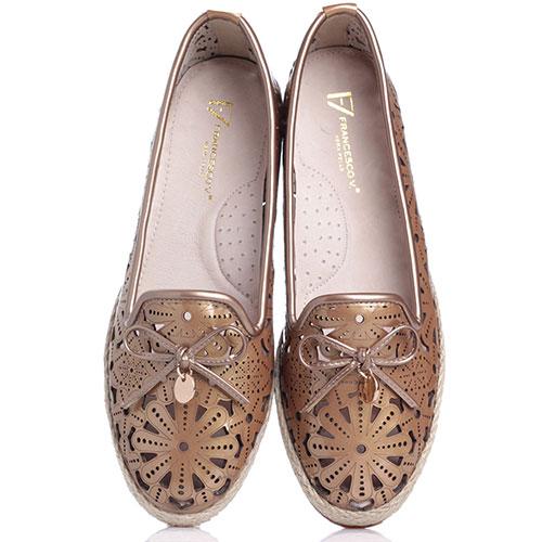 Коричневые туфли Francesco Valeri с резным узором, фото