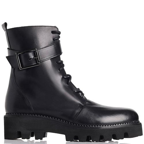 Ботинки черные Spaziomoda со шнурками и молнией, фото