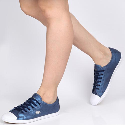 88eba2ec0e0e ☆ Женские кожаные кеды Lacoste синего цвета с резиновым носочком 7 ...
