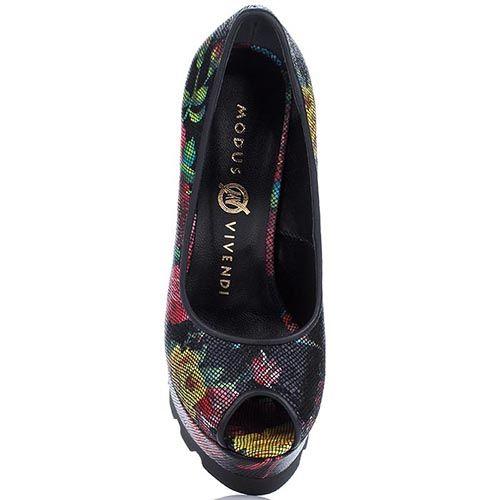Кожаные туфли Modus Vivendi с цветочным принтом на каблуке и платформе, фото