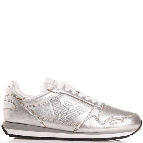 Серебристые кроссовки Emporio Armani с белой шнуровкой, фото