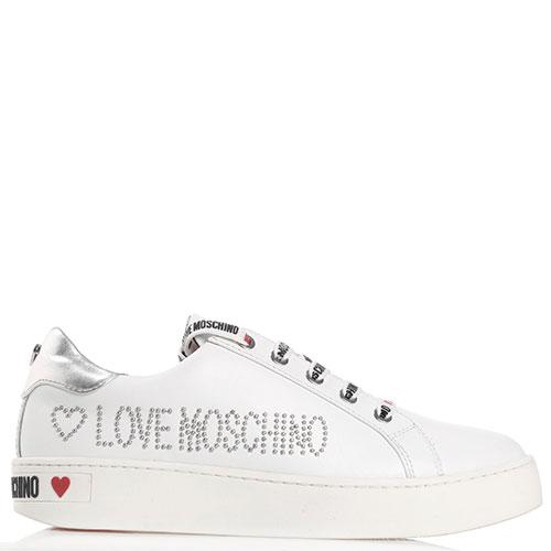 Белые кеды Love Moschino с заклепками-лого, фото