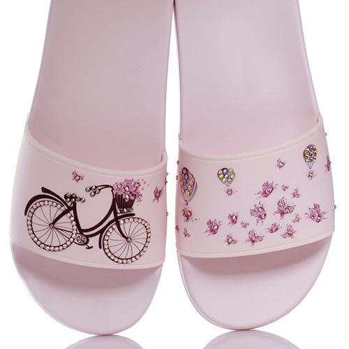 Розовые шлепанцы Menghi с принтом-велосипед, фото