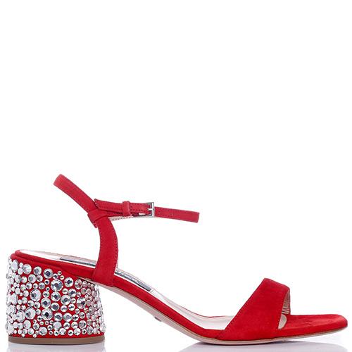 Красные босоножки Sebastian со стразами на каблуке, фото