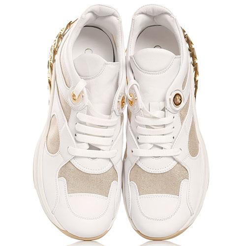Белые кроссовки Casadei с золотистым декором, фото