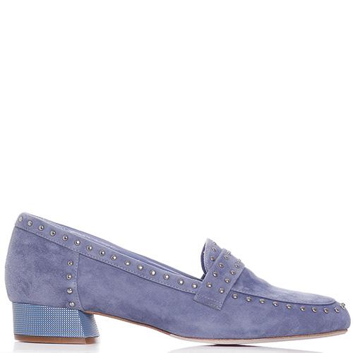 Голубые туфли Genuin Vivier с декором-заклепками, фото