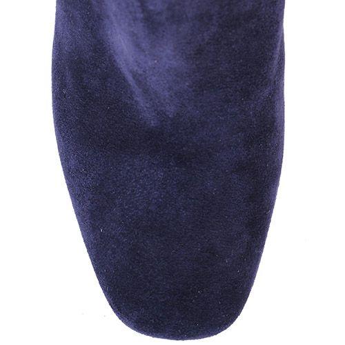 Сапоги Giovanni Fabiani осенние замшевые синего цвета с черным узором, фото