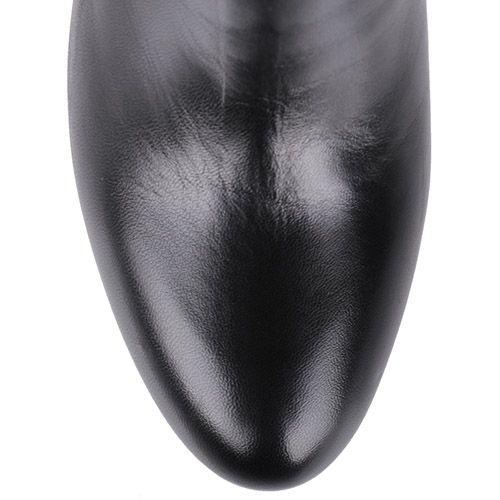 Сапоги Giovanni Fabiani осенние черного цвета с узором из страз на пятке, фото