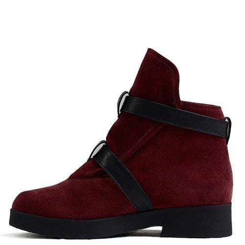 Женские ботинки Modus Vivendi бордового цвета с кожаными вставками, фото