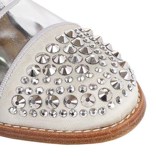 Броги Ras из кожи серебристого цвета с декорированным носочком металлическими шипами-стразами, фото