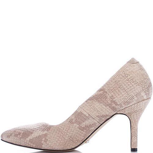 Кожаные туфли Modus Vivendi бежевого цвета с имитацией кожи питона, фото