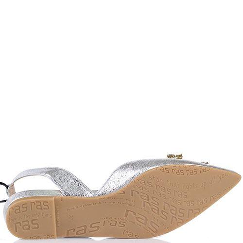 Туфли Ras из кожи серебристого цвета с открытой пяточкой на шнуровке, фото