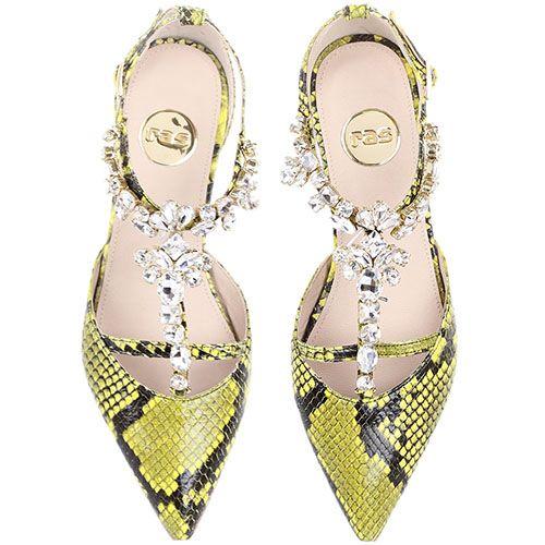 Туфли Ras лимонного цвета с имитацией кожи питона и декором из крупных камней, фото