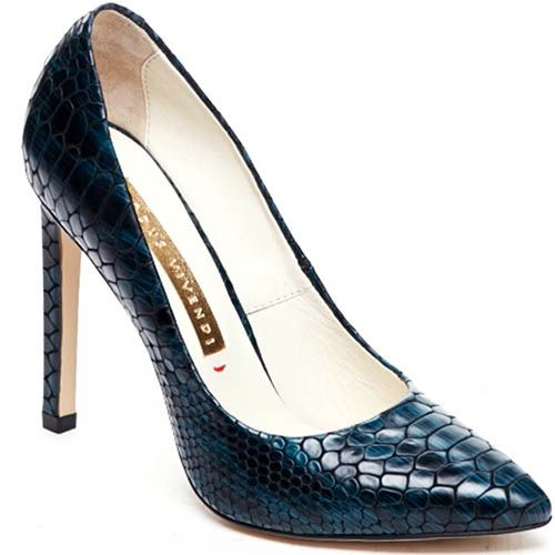 Кожаные туфли-лодочки синего цвета Modus Vivendi с тиснением под питона, фото
