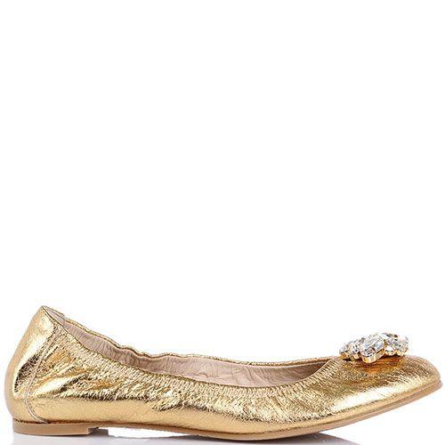 Кожаные балетки Ras насыщенного золотого цвета с украшением из камней, фото