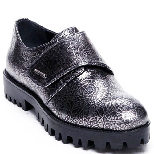 Кожаные туфли серебристого цвета Modus Vivendi на липучках, фото