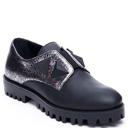 Кожаные туфли черного цвета с серебристыми встакавками Modus Vivendi на резинках, фото