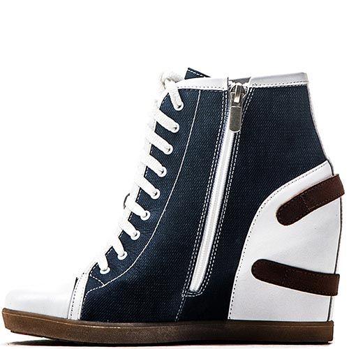 Сникерсы Modus Vivendi из джинса и белой кожи, фото