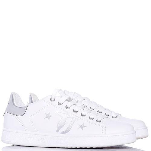 Белые кеды Trussardi Jeans с серебристым лого, фото