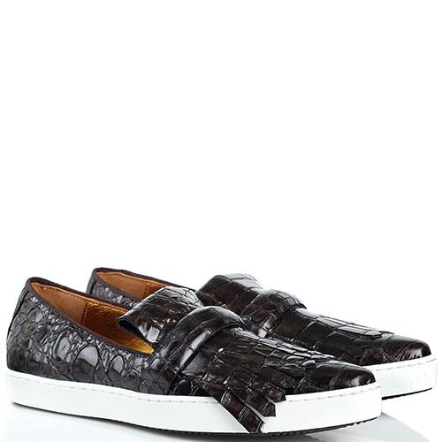 Кожаные слипоны Ras коричневого цвета с фактурой кроко, фото