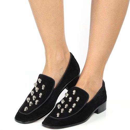 Замшевые туфли Ras на низком каблуке с металлическим декором-черепами, фото