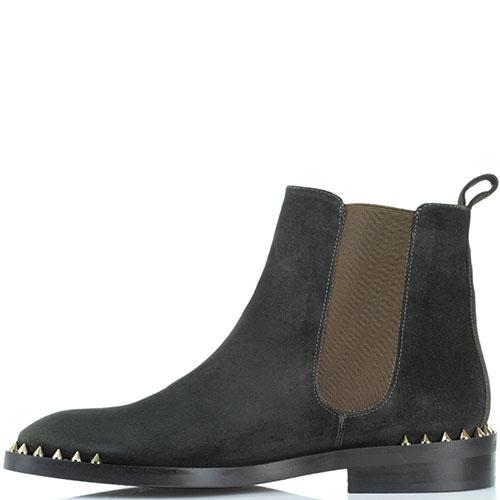 Замшевые ботинки Ras зеленого цвета с шипами на носочке, фото