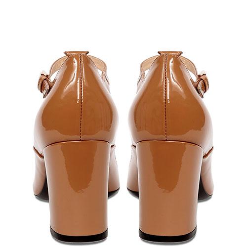Лаковые туфли N21 бежевые с бантом, фото