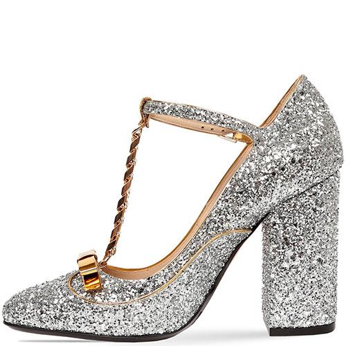 Туфли N21 с глиттером серебристого цвета, фото