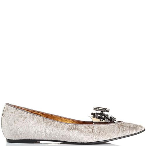 Туфли из бархата Ras с силиконовой вставкой и серыми камнями, фото
